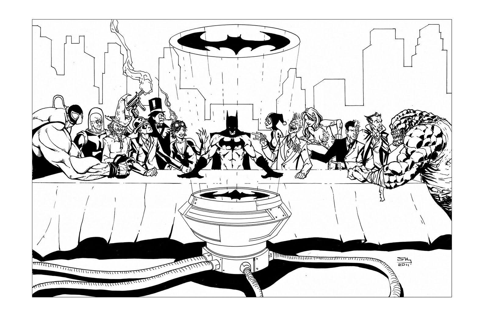 Free coloring pages last supper - Batman Villans The Last Supper Free Coloringcoloring Pageslast