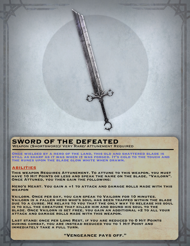 Oc Art Sword Of The Defeated Dnd D D Dungeons And Dragons Dungeons And Dragons Homebrew Dnd 5e Homebrew You will fight those who are evil, but never show mercy to your mechanically, the vengeance oath is centered around using your channel divinity to choose a single target. oc art sword of the defeated dnd