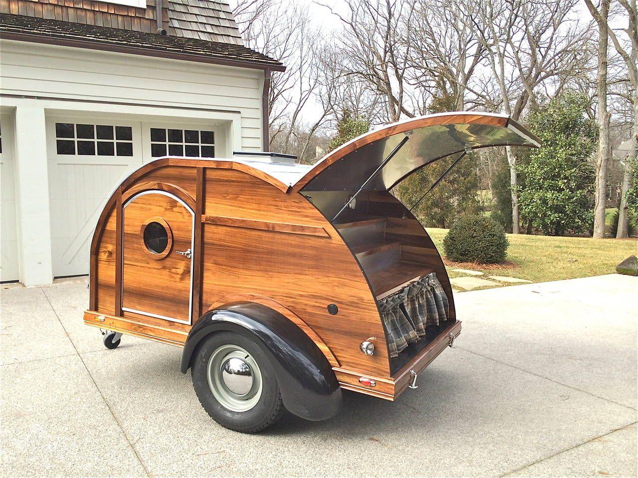 Bar Carts Retro Style Walnut Teardrop Trailer