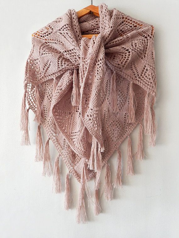 Knitted linen boho shawl with tassels knitted linen wrap