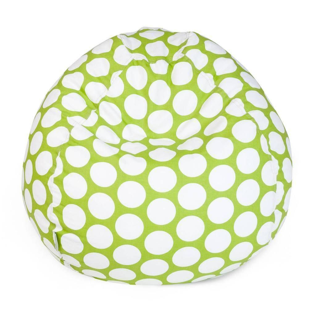 Majestic Home Goods Large Polka Dot Small Classic Bean Bag (Hot Green Large Polka Dot Small Classic Bean Bag) (Cotton)