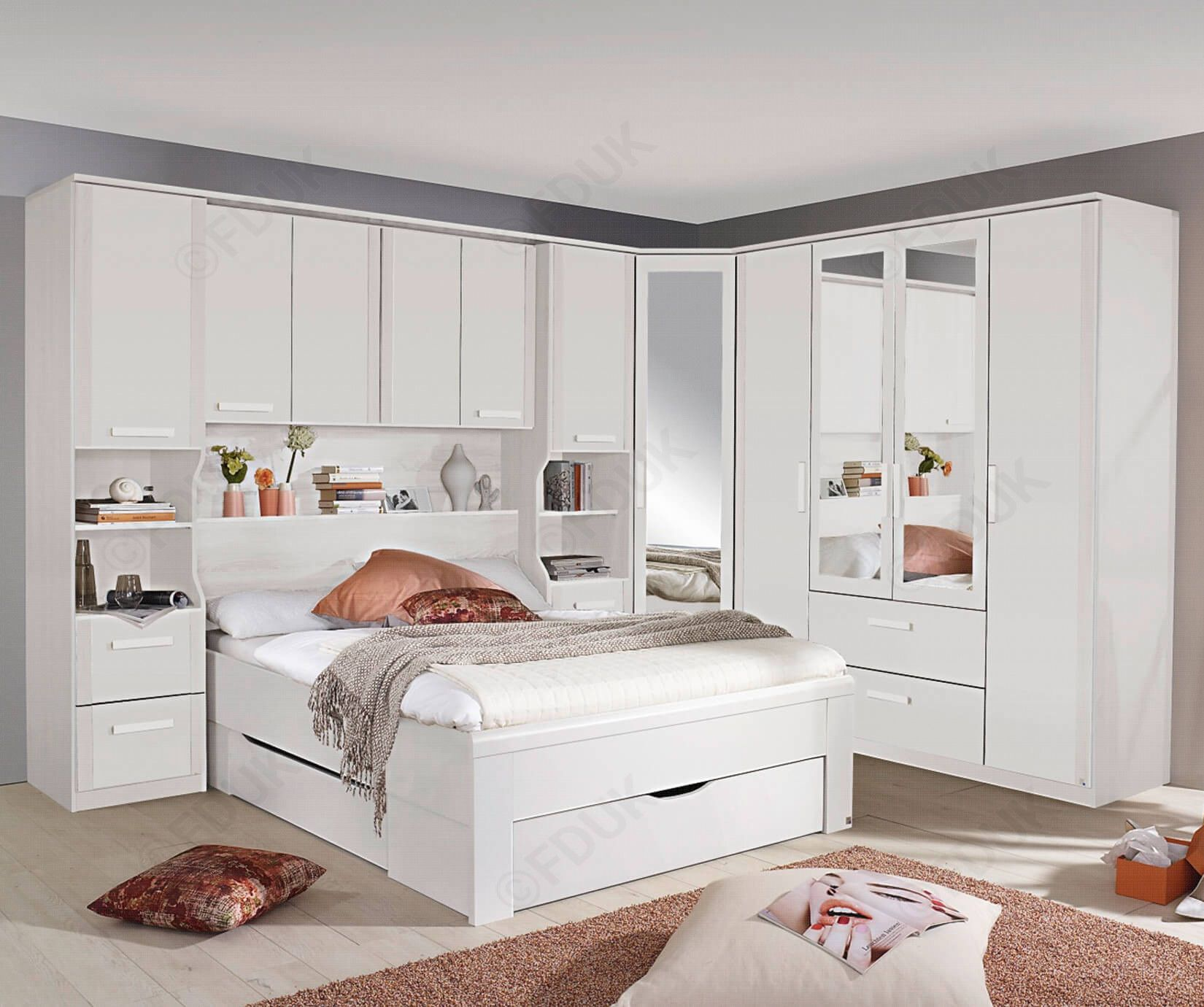Rauch Rivera Alpine White Overbed for Beds with Wall Panel and Book Storage (W 160cm x 200cm) FDUK BEST PRICE GUARANTEE WE WILL BEAT OUR COMPETITORS PRICE! Give our sales team a call on 0116 235 77 86 and we will happily PRICE BEAT