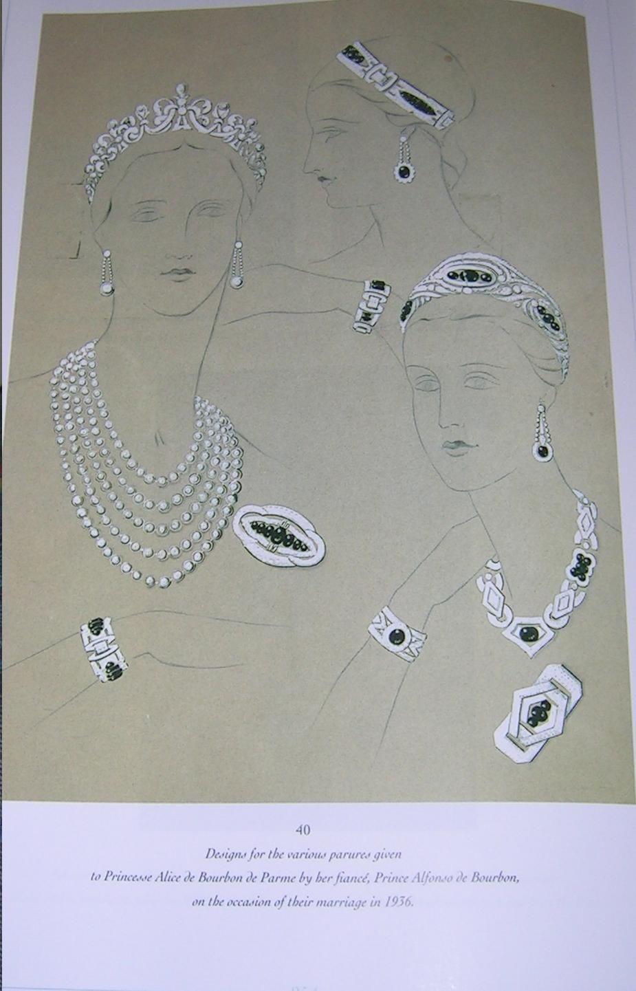 design unico selezione straordinaria prezzo ragionevole Chaumet sketches of the pearl tiara and sapphire parure of ...