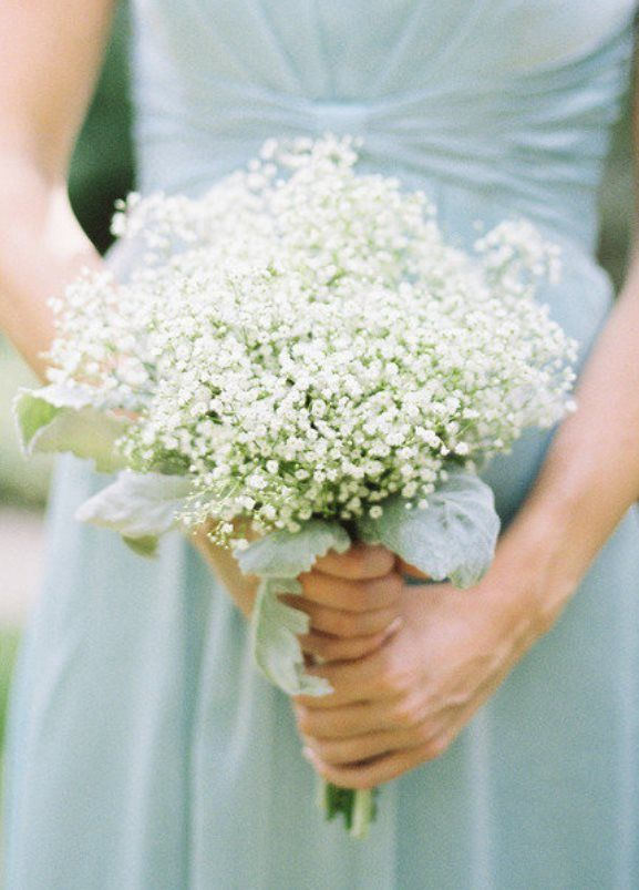 Mint Green Bridesmaids Dress With White Babybreath Bridesmaids