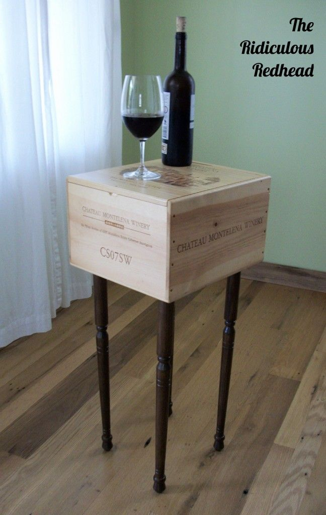 Upcycled wine crate now a side table!   Wine crate furniture, Wine crate table, Wine box table