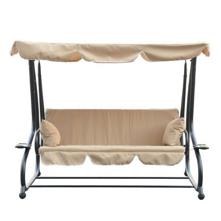 Outsunny Covered Outdoor Porch Swing / Bed with Frame - Sand | Ideas ...