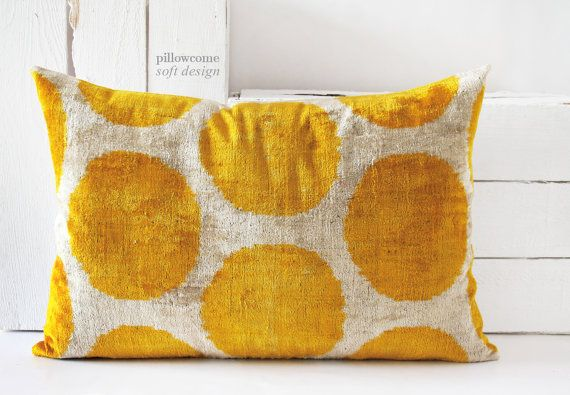 "Velvet Ikat Pillow -15""x22"" Handwoven Velvet Ikat,Cushion Covers,Lumbar Ikat, Throw Pillow, Decorative Pillowcase, Silk Velvet Yellow Cream"