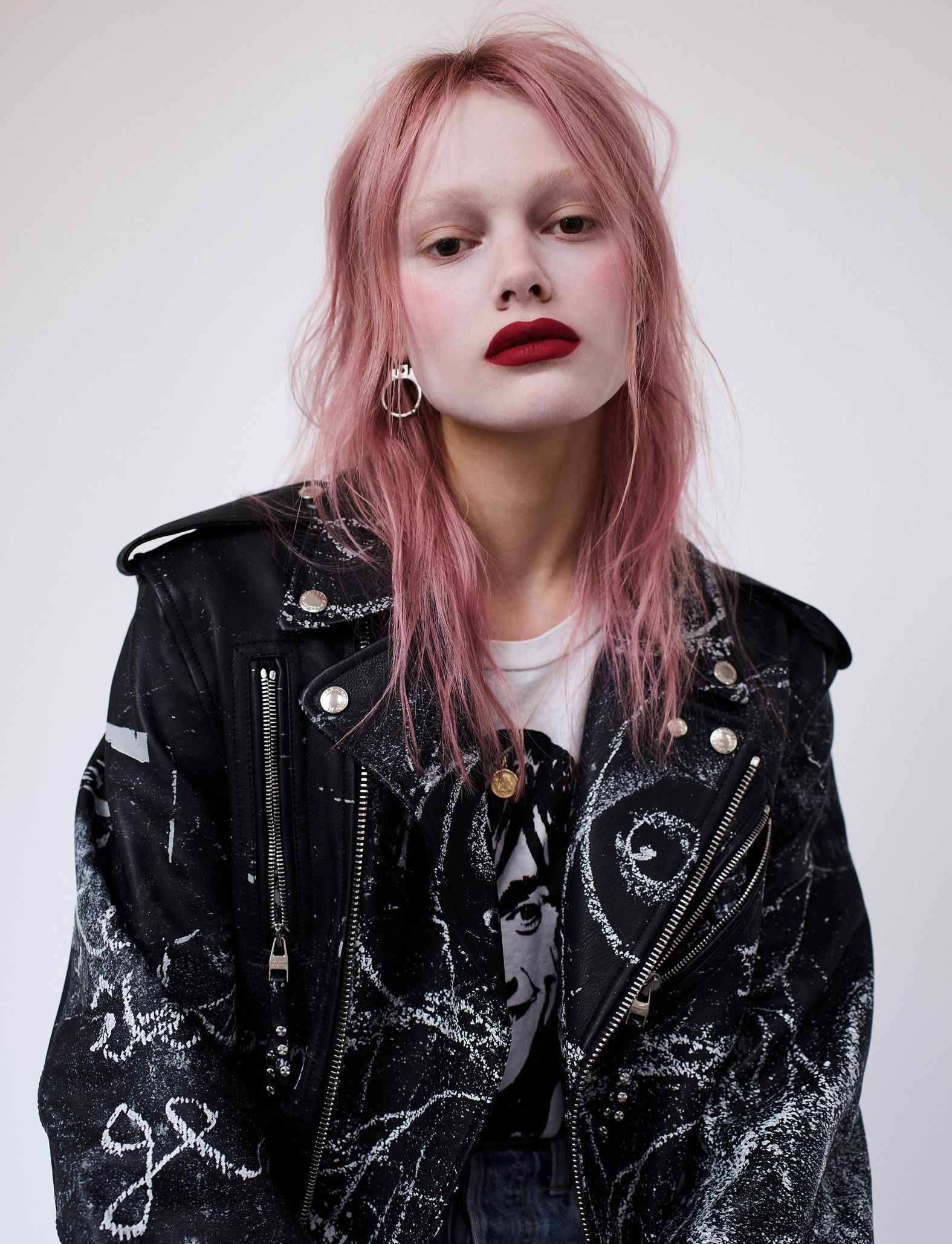 Simona Kust The Russian Pink Haired Saint Laurent Exclusive Fashion Pink Hair Model