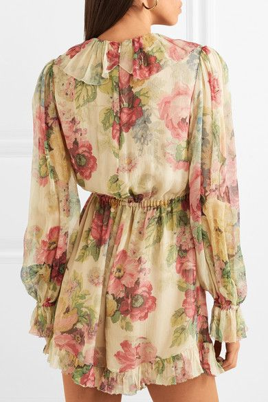 bf8ea41e862 Zimmermann - Melody Floating Ruffled Floral-print Silk-crepon Playsuit -  Green