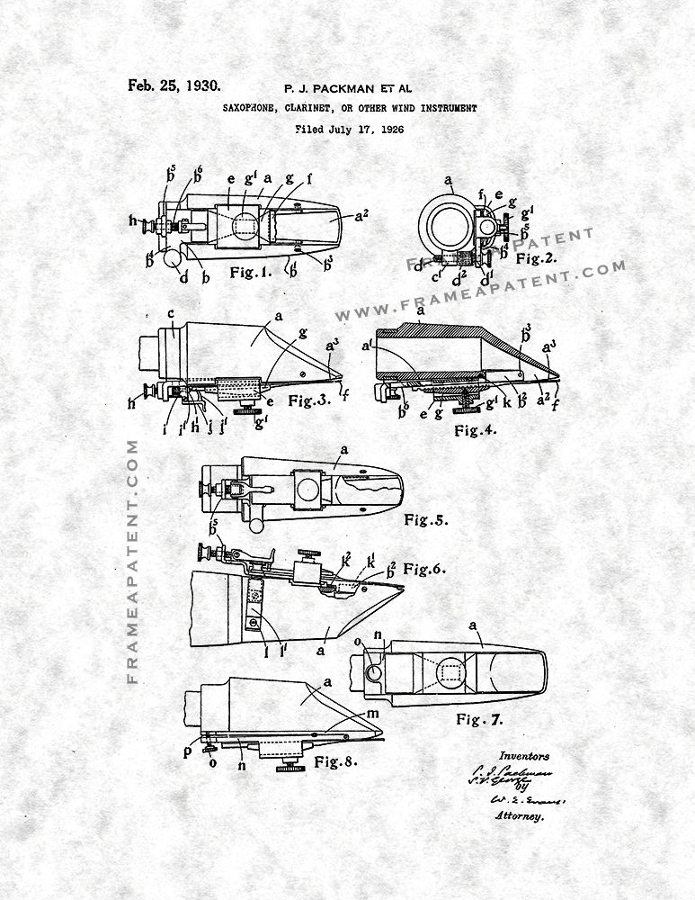 Saxophone Clarinet Or Other Wind Instrument Patent Print