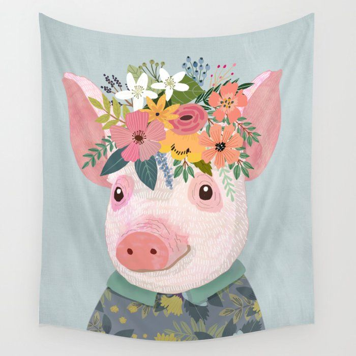 PIG WITH FLORAL CROWN, FARM ANIMAL TAPESTRY