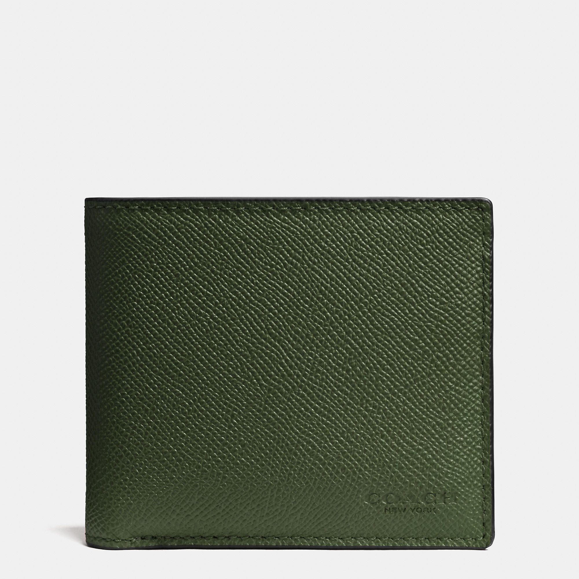COACH Mens Wallets | Compact Id Wallet In Crossgrain Leather ...