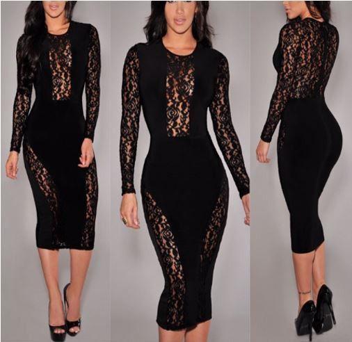 Flower Lace Black Midi Dress