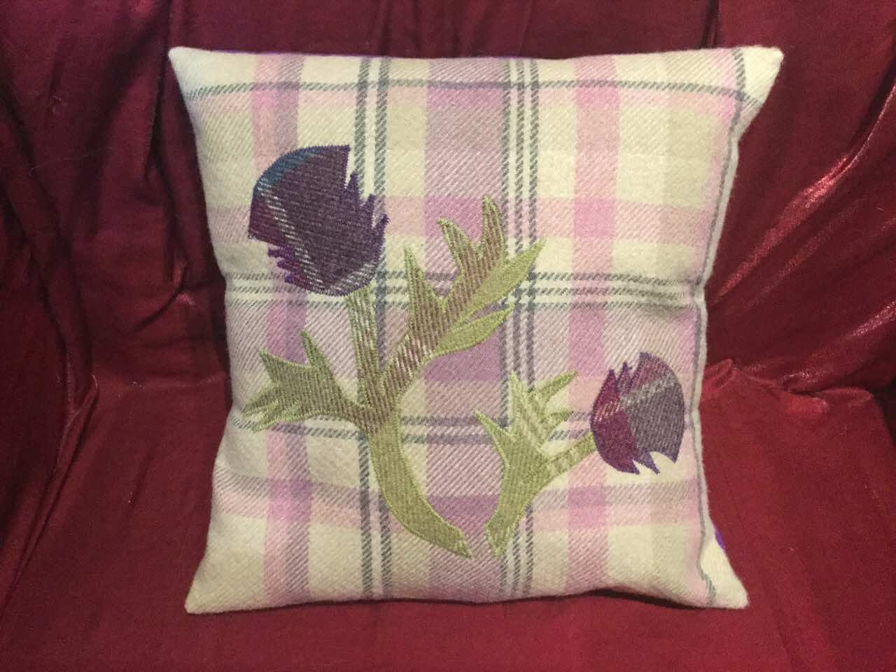 Thistle suit your home nicely handmade purple u green on pink