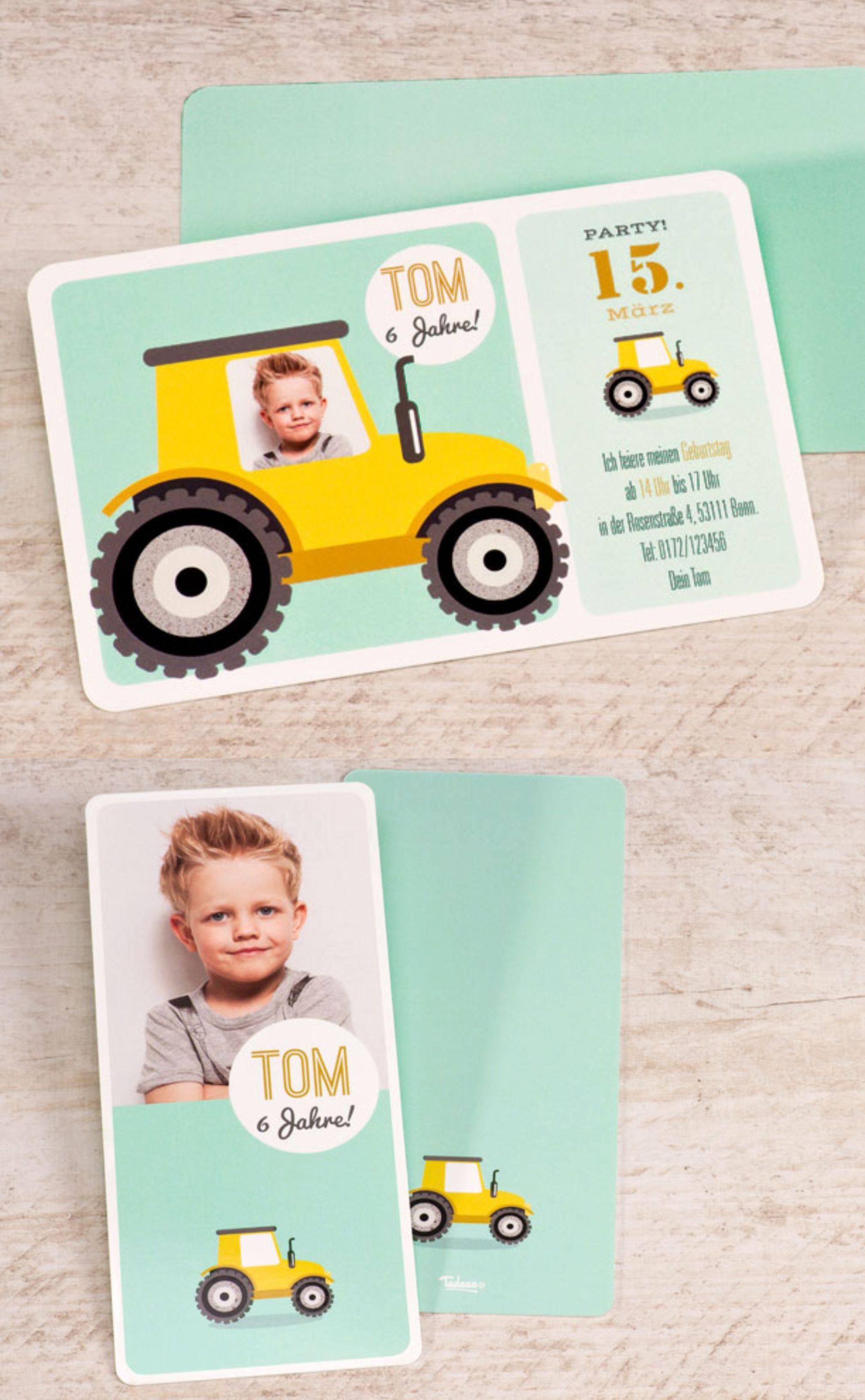 einladungskarte kinderfeier mit traktor - sonstige anlässe