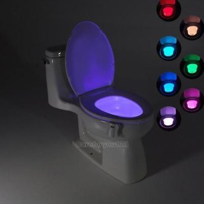 8 //16 Colors Body Sensing Automatic LED Motion Sensor Toilet Bowl Night Light