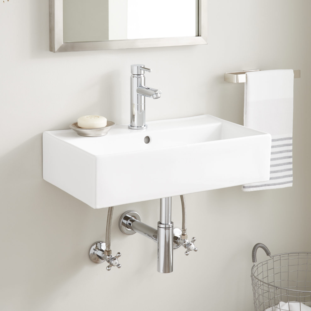 Made Of Porcelain The Goncalves Wall Mount Sink Resists Scratches Chipping And Staining The R In 2020 With Images Wall Mounted Sink Wall Mounted Bathroom Sinks Bathroom Design