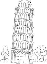 Desenho Para Pintar Sobre A Torre De Pisa Com Questoes Pesquisa