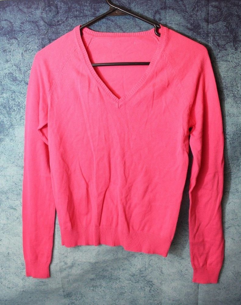 Details About Used Girls Pullover Pink Sweater Size Medium10 12 10 Long Sleeve Vneck Cardigan Shirt Unbranded