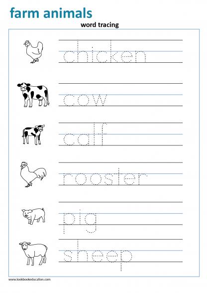 Word Tracing Farm Animals in 2020 Farm animals preschool