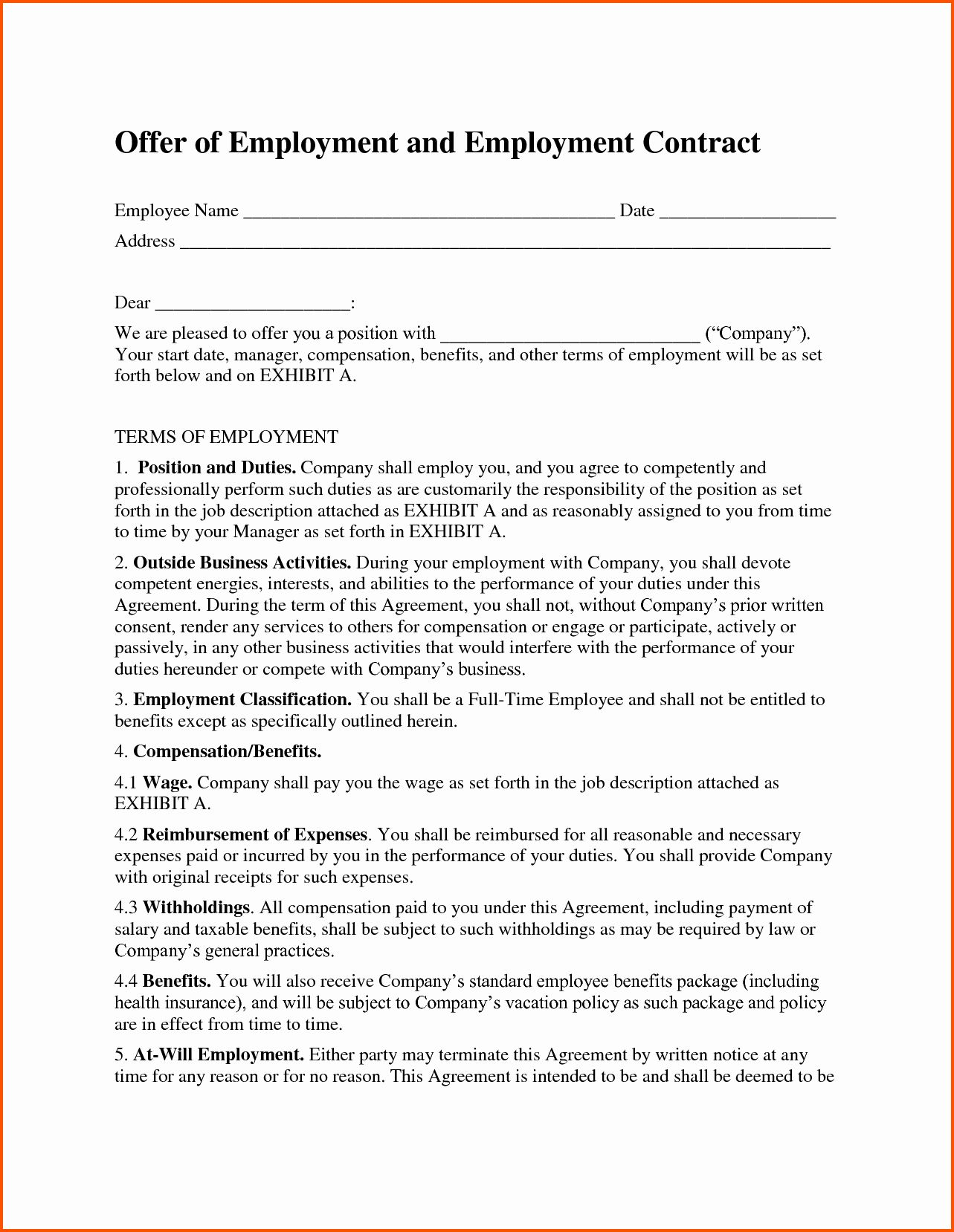 Fresh Free Employment Contract Template Word