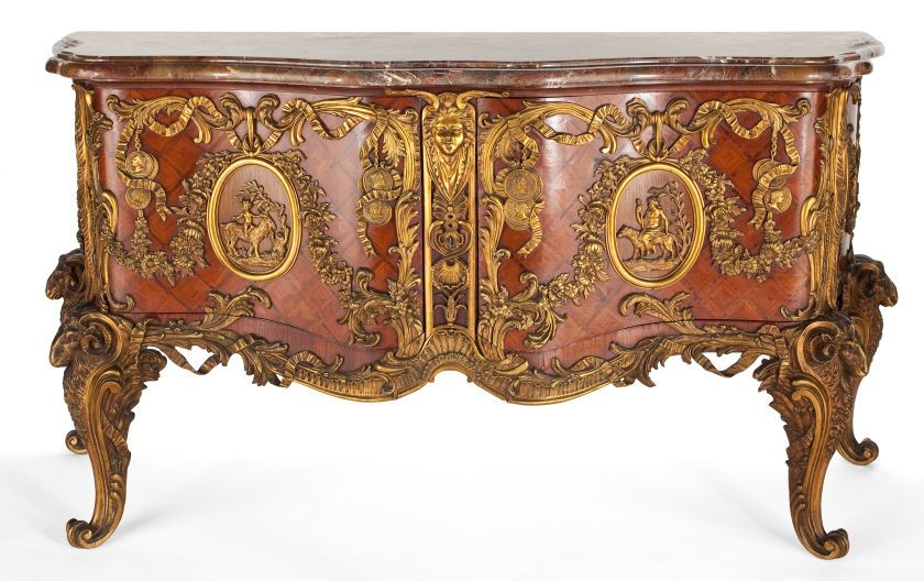 Louis Xv Style Gilt Bronze Mounted Mahogany Commode With Marble Top After The Model By Antoine Gaudraux