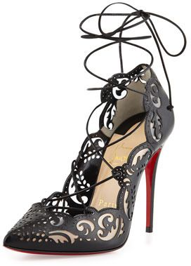 0a571d5a6fbe9 Dear God, I have fallen in love. Christian Louboutin Impera Lace-Up  Laser-Cut Red Sole Pump, Black on shopstyle.com