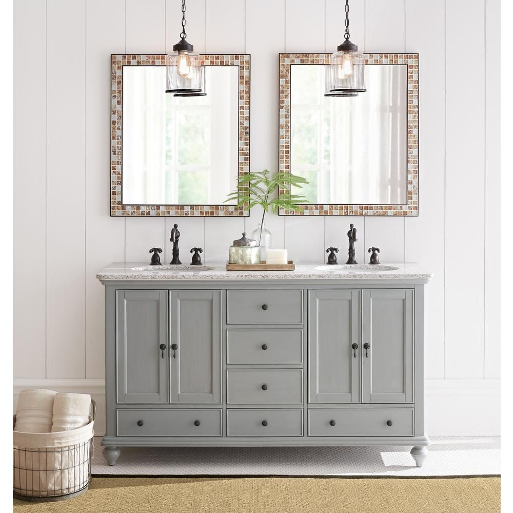 Home Decorators Collection Newport 61 In W X 21 1 2 D Double Diagram Of Parts For Hamilton Centerset Two Handle Bathroom Faucet 215 Vanity Pewter With Granite Top Grey White Basin