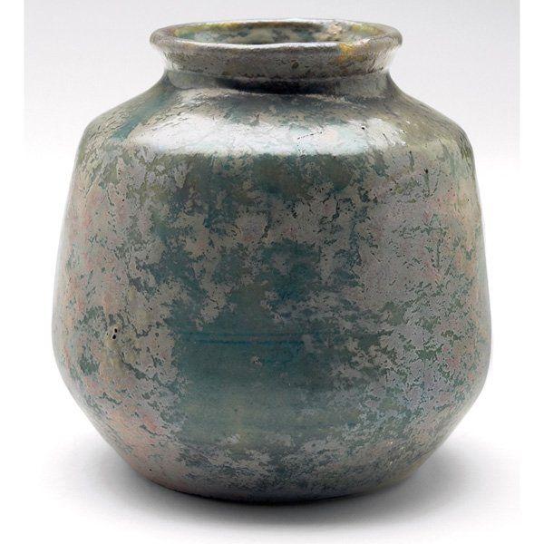 Pewabic Vase Green Blue Gray Metallic Glaze Very Nice Pewabic Vase