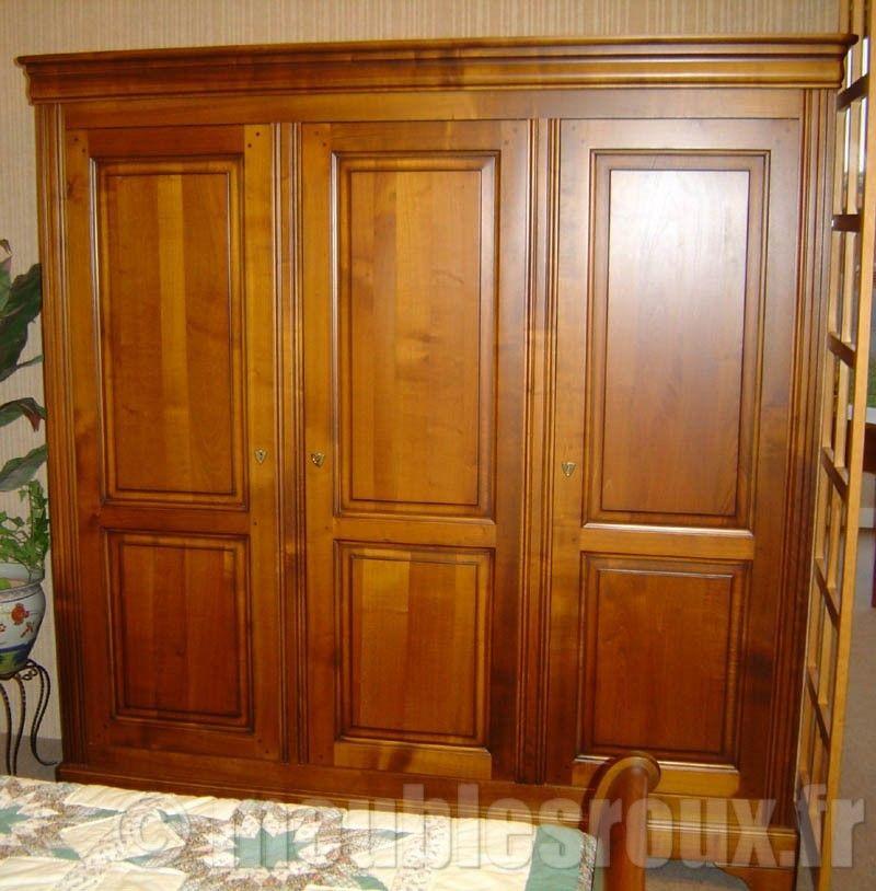 armoire louis philippe en merisier 2 portes en merisier massif rayons reglables en hauteur