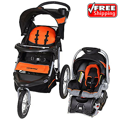 Baby Trend Expedition Jogger Stroller Travel System Millennium Orange Car Seat
