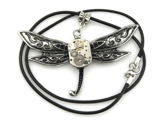 Techie Dragonfly Pendant  Watch Insect Pendant by SteamSect