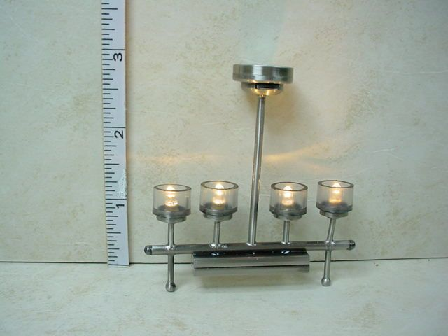 Dollhouse Miniature Battery Operated Lamp 4 Light Platinum Chandelier #CL32SPNB