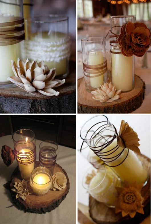 Not the colors are the jars but the wood it would be nice for Diy candle jar decorations