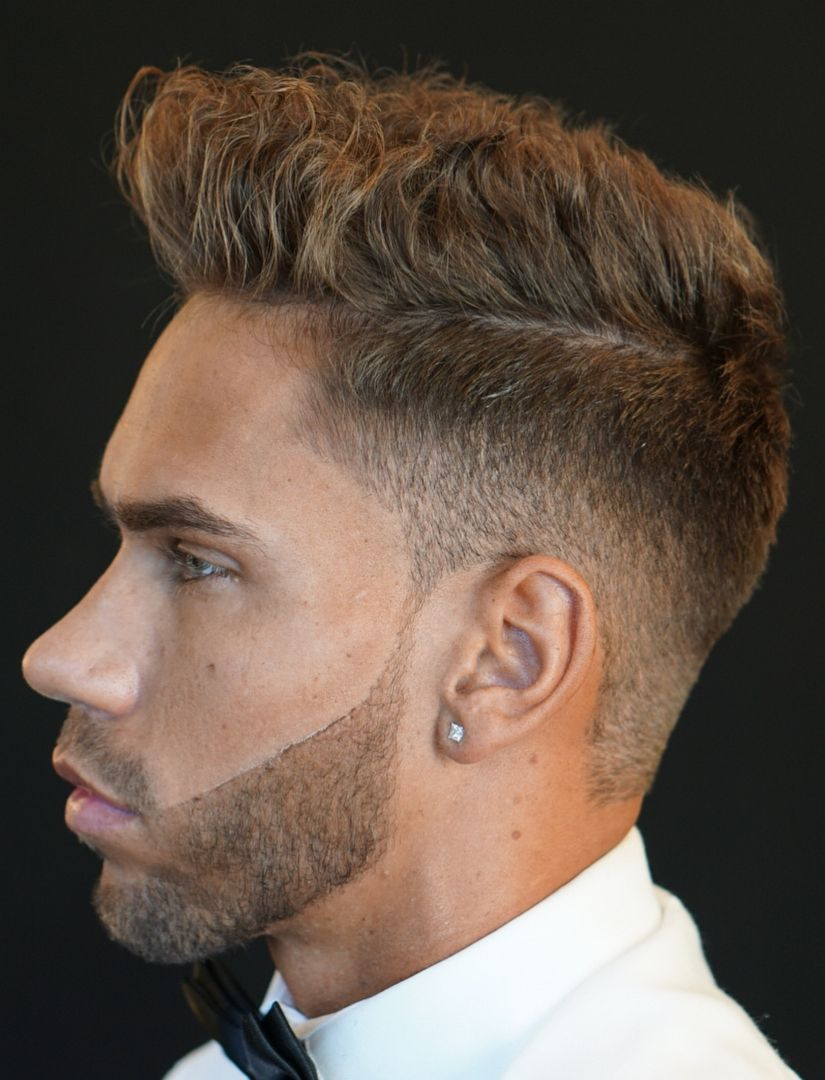 Low Sharp Fade Messy Short Hair Left Side View Men Blonde Hair Cool Hairstyles For Men Haircuts For Men