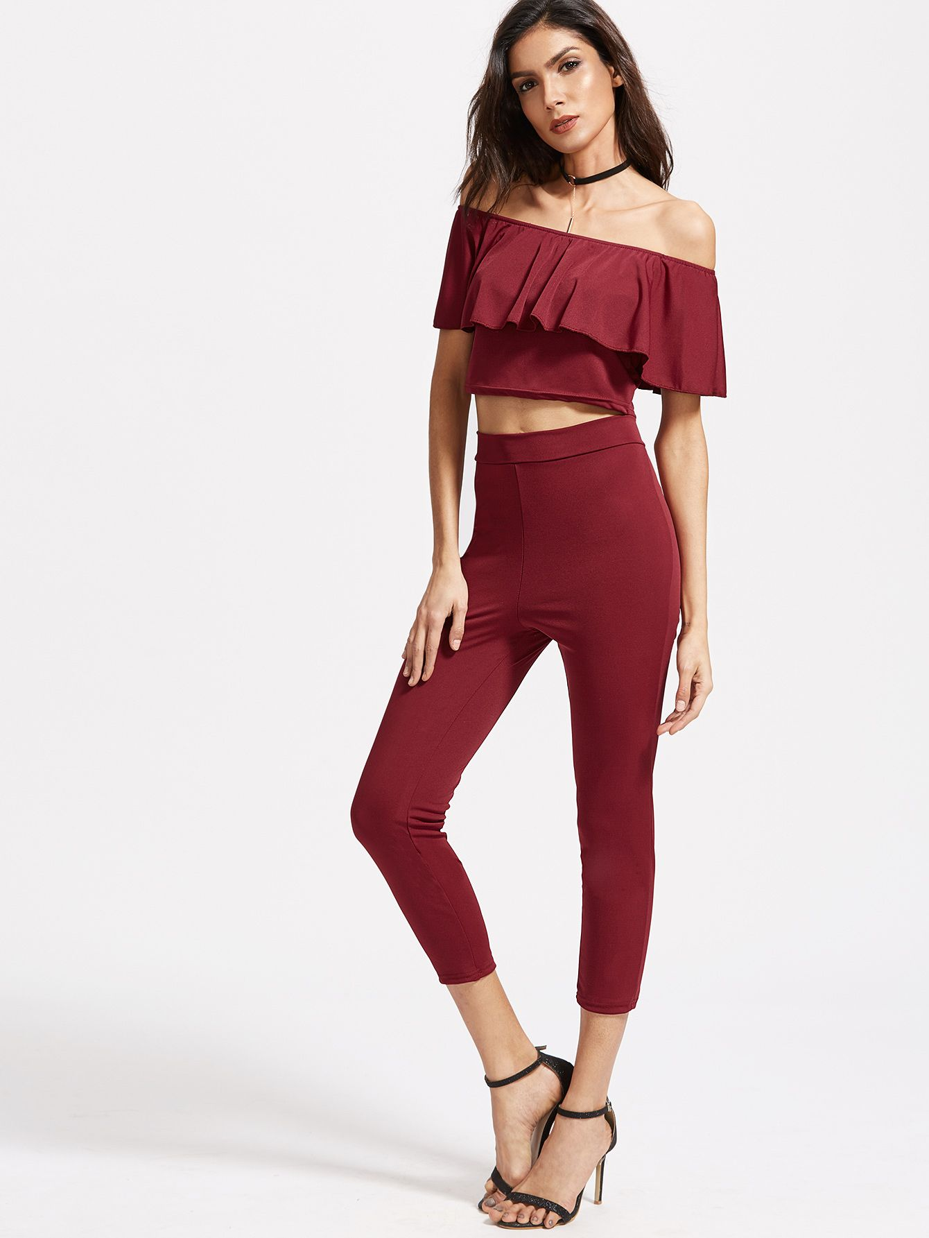 ed4d262d5a1e Shop Burgundy Off The Shoulder Ruffle Trim Top With Pants online. SheIn  offers Burgundy Off The Shoulder Ruffle Trim Top With Pants   more to fit  your ...