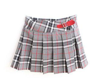 Womens Pleated Wrap Over Tartan Print Skirt Ladies Buttoned Kilt Scottish Skirt