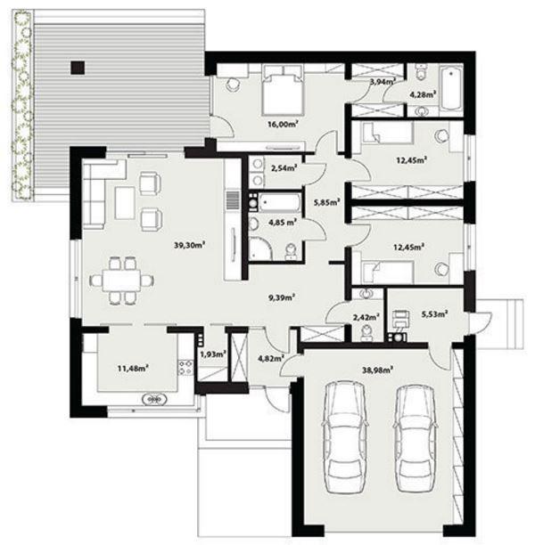 Planos de casas modernas de 1 piso y 3 habitaciones ...