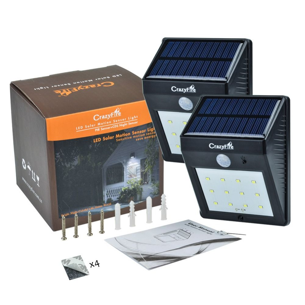2pcs Lot Bright 12 Led Solar Powered Lamp Pir Motion Sensor Light Outdoor Waterproof Garden Path Wall Light Solar Lamp Lanternas Affiliate With Images Solar Powered Lamp