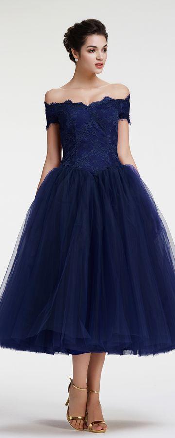 Navy Blue Off the Shoulder Ball Gown Vintage Evening Dress Tea ...