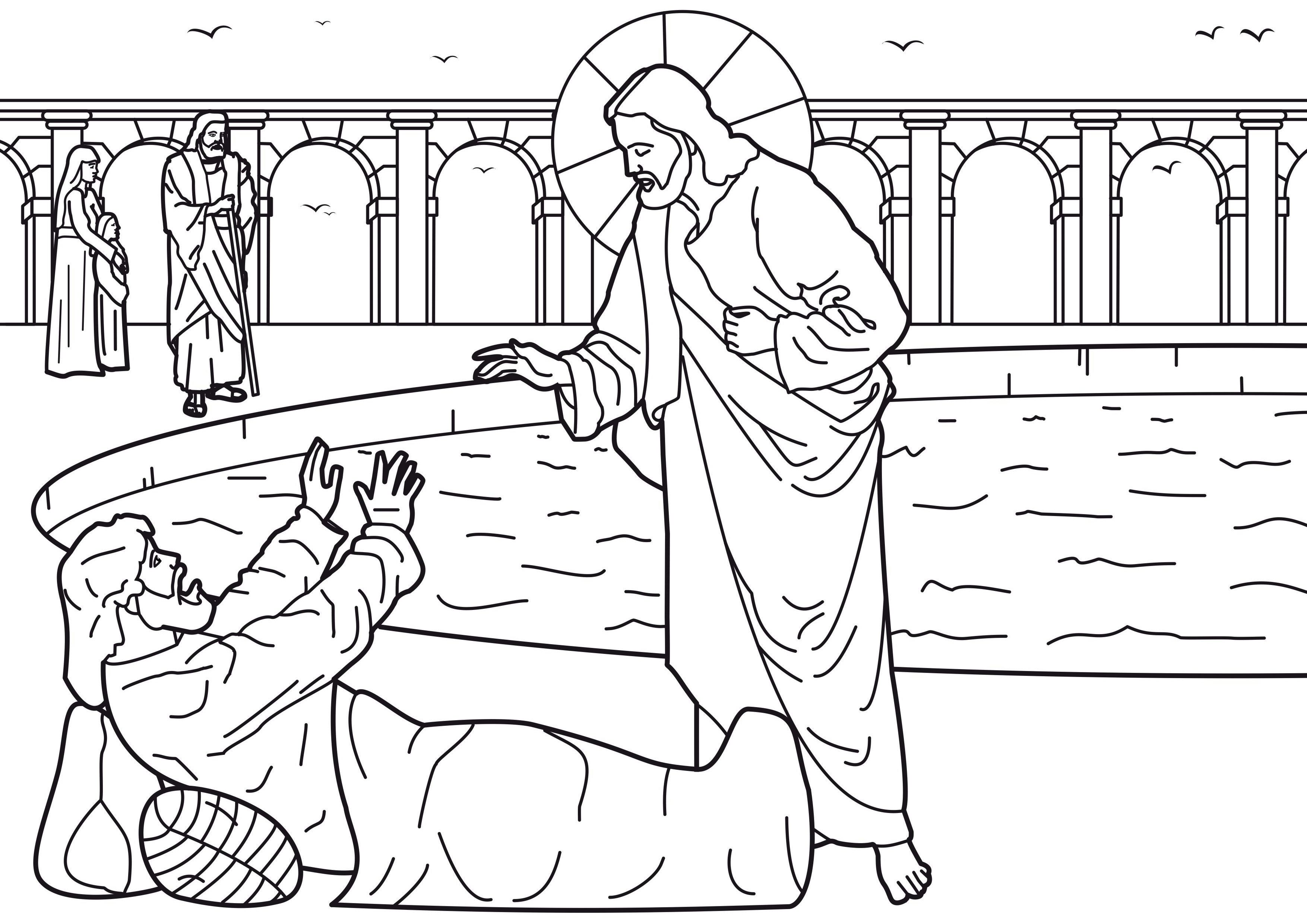 Free coloring pages jesus miracles - Image Detail For Coloring Picture Of Healing Of The Man At The Pool Of Bethesda