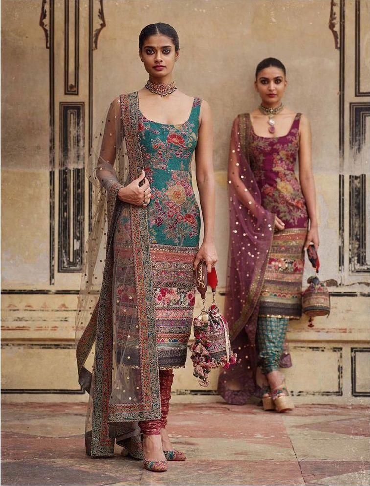 Sabyasachi floral print kurta pant set blue purple  #indiandesignerwear