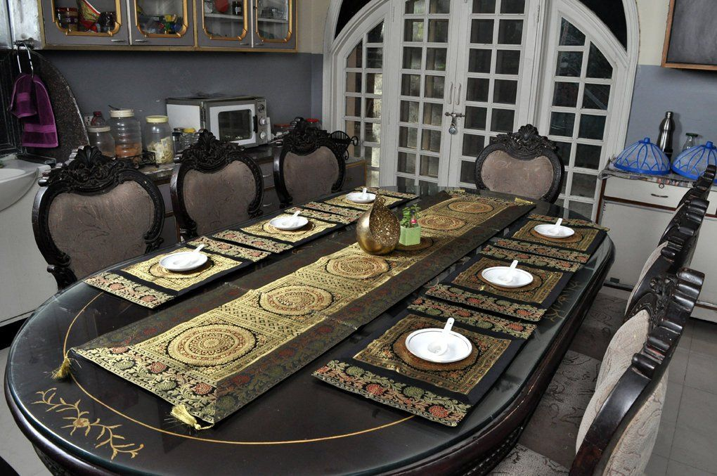 Handmade Mandala Design Brocade Silk Dining Table Decor Table Runner With Mat Placemats By Hou Dining Table Decor Wrought Iron Candle Stand Wrought Iron Candle