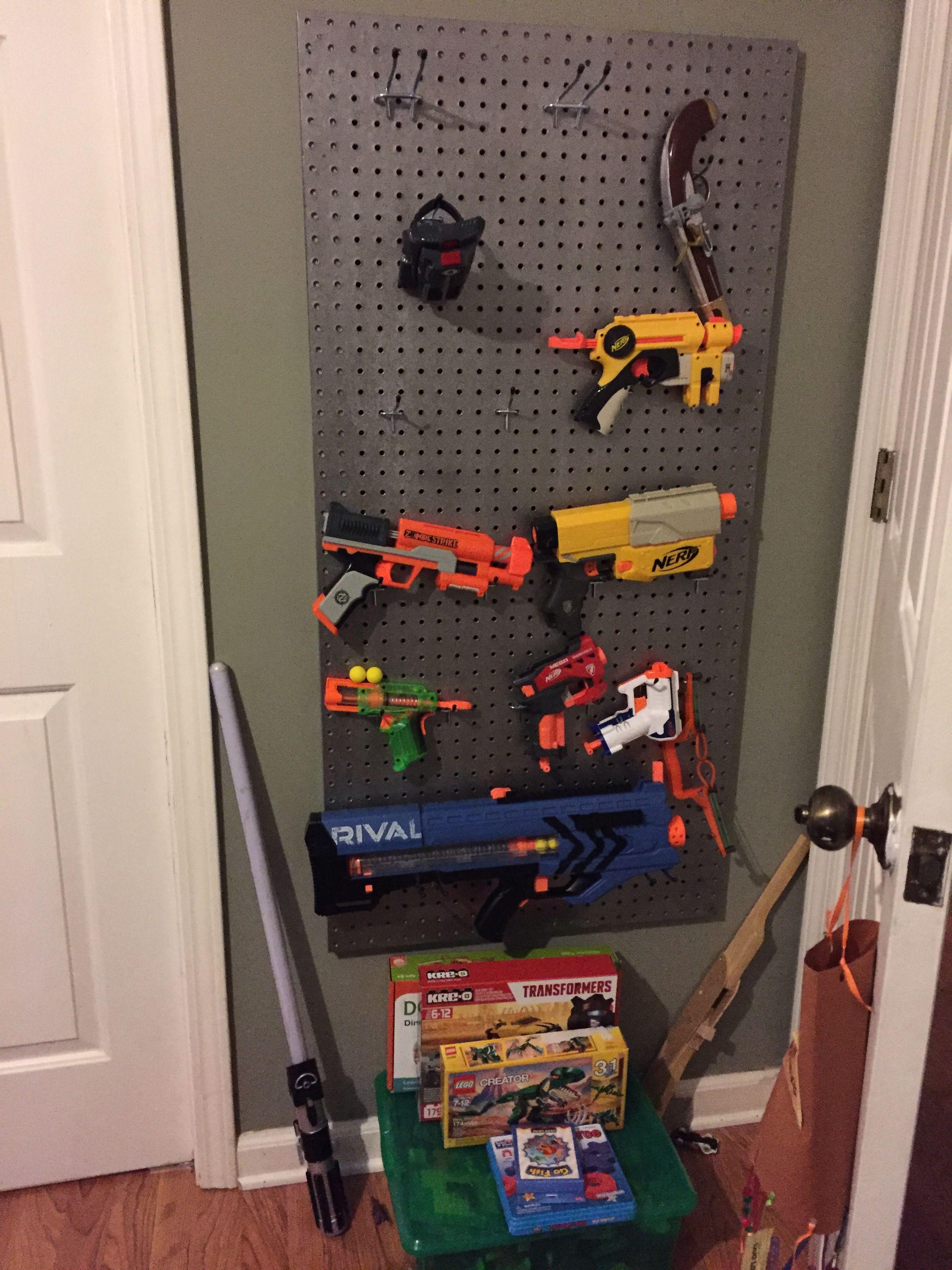 Diy Nerf Gun Storage Wall 2x4 Pegboard Peg Mounts