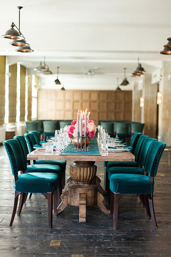 Rose Gold And Peony Modern Metallic Wedding Shoot Dining Room Teal Velvet Dining Chairs Dark Room Photography