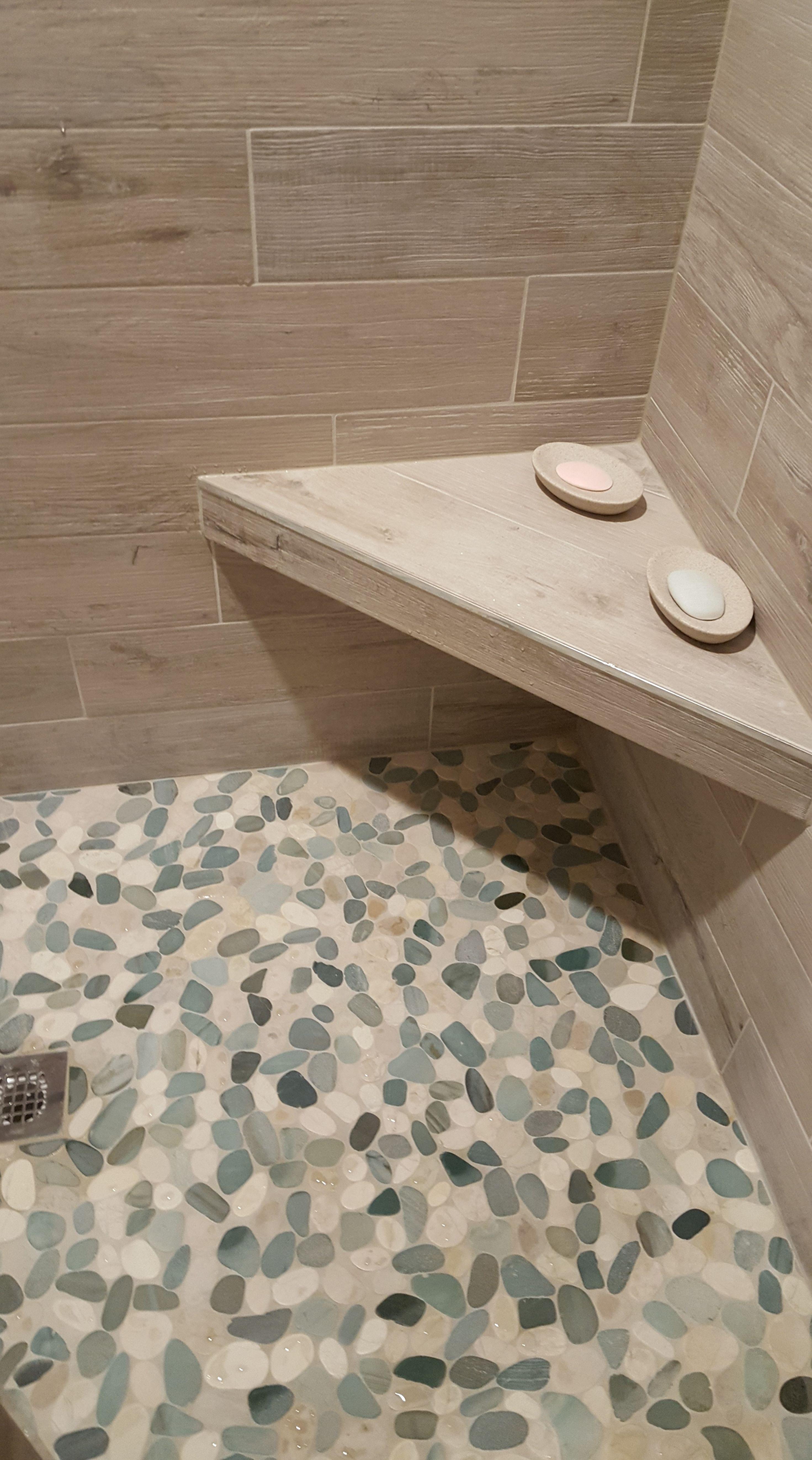 Stunning shower floor using Sliced Sea Green and White Pebble Tile  https. Stunning shower floor using Sliced Sea Green and White Pebble Tile