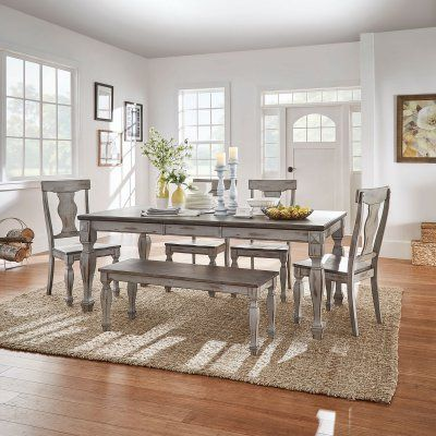 Surprising Weston Home Two Tone 6 Piece Extension Dining Set 524Ga 78 Squirreltailoven Fun Painted Chair Ideas Images Squirreltailovenorg