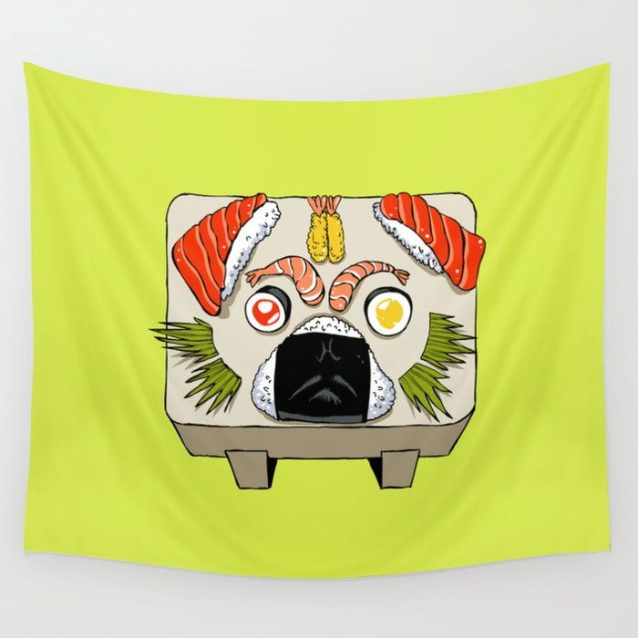 Buy Pug Sushi Wall Tapestry by huebucket. Worldwide