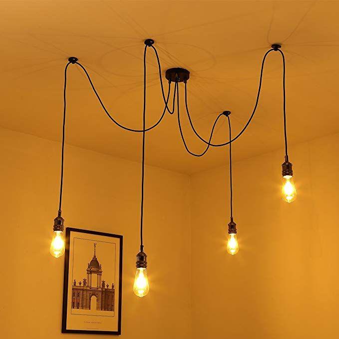 Vintage Chandeliers Ceiling Light Elfeland Retro Industrial Spider Ceiling Light Adjustable Pendant Light E27 Bulb Base Fitting Kit 4 Bulb Hol Vintage Pendant Lighting Hanging Chandelier Chandelier