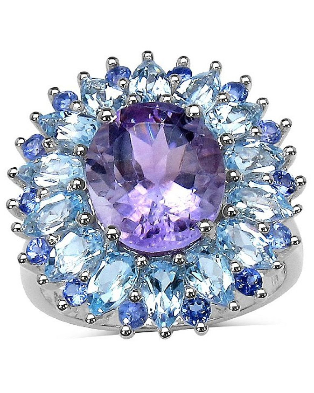 Women's Purple 8.17 Amethyst, Blue Topaz And Tanzanite Ring In Sterling Silver